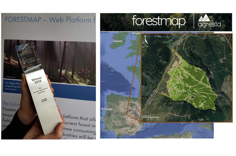 Forestmap, de AGRESTA, ganador en el Copernicus Masters 2018 CGI Big Data Business Challenge