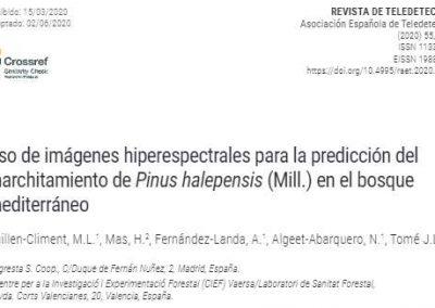«Uso de imágenes hiperespectrales para la predicción del marchitamiento de Pinus halepensis (Mill.) en el bosque mediterráneo»